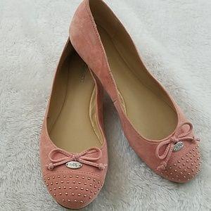 Coach Doreen Sz 7 pink Suede studded ballet flats